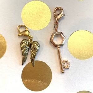 Origami Owl angel wing and hex key dangles